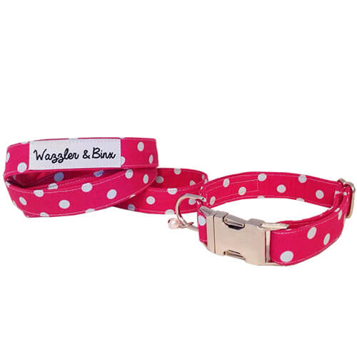 Pink with White Polka Dots, Dog Collar & Lead, NZ Made, Bespoke, Petware