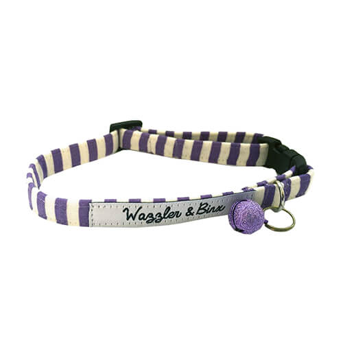 Purple Candy Stripes, Cat Collar, NZ Made, Bespoke, Designer Petware