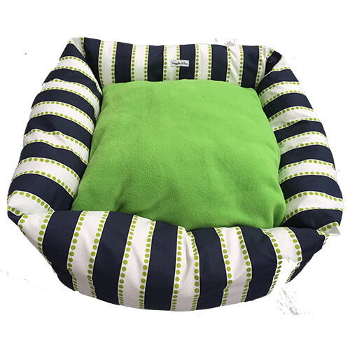 Oasis, Navy Blue & Lime Green, Dog Bed, NZ Made, Bespoke, Petware