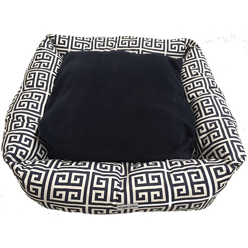 Greek Key, Black & White, Dog Bed, NZ Made, Bespoke, Petware