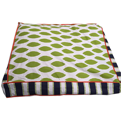 Contemporary Green, with Navy Blue Stripes, Dog Bed, NZ Made, Bespoke, Petware