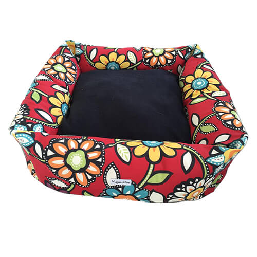 Floral & Multicoloured Dog Bed, NZ Made, Bespoke, Designer Petware