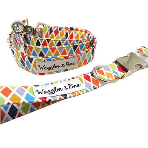 Diamond Multi Coloured Print, Dog Collar & Lead, NZ Made, Bespoke, Petware